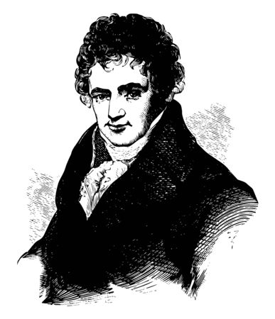Robert Fulton 1765 to 1815 he was an American engineer and inventor famous for developing the first commercially successful steamboat called The North River Steamboat of Claremont vintage line drawing or engraving illustration Banco de Imagens - 133479522