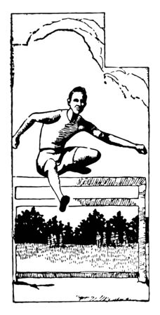 In this image a man is jumping over a hurdle. This is a part of sports vintage line drawing or engraving illustration.