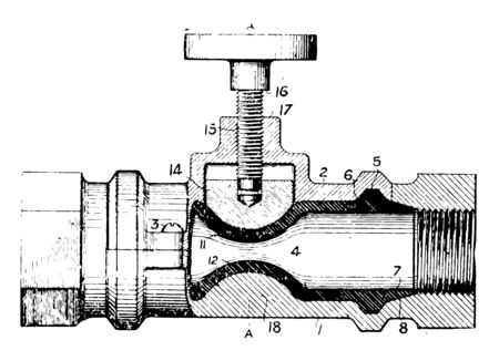 This illustration represents work function of Fine Threading Valve vintage line drawing or engraving illustration.