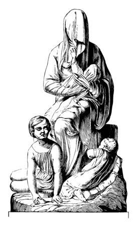 Bashful Beggar Sculpture ist ein österreichisches Design, eine Vintage-Linienzeichnung oder eine Gravurillustration.