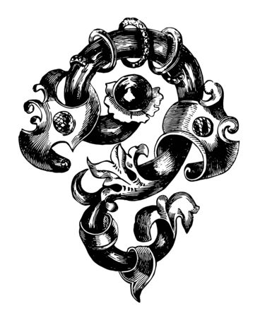 Brooch is a combination of flowers and jewels, vintage line drawing or engraving illustration. Banque d'images - 133037415