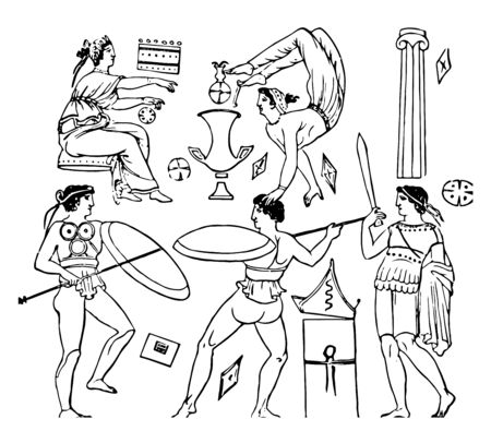 Pyrrhic Dance is the most famous of all the war and imitating by quick movements in modes in which an enemy is to be attacked vintage line drawing or engraving illustration.