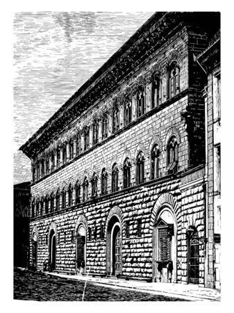 Riccardi Palace at Florence expression of great massiveness main characteristics of this Florentine style the rusticated masonry the cornice had precedents in Roman art vintage line drawing or engraving illustration.