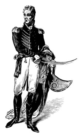 Andrew Jackson 1767 to 1845 he was an American soldier statesman seventh president of the United States from 1829 to 1837 United States senator from Tennessee and military governor of Florida vintage line drawing or engraving illustration Ilustrace