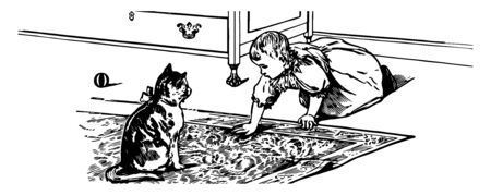 Baby with a kitten in carpet in this picture vintage line drawing or engraving illustration.
