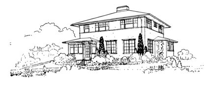 A House for the Plains Great Plains and house a growing population vintage line drawing or engraving illustration.