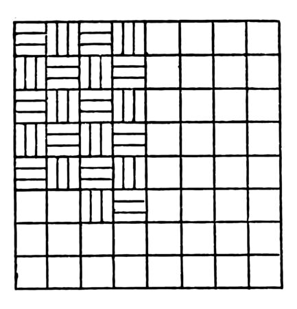 Inscribed Alternating Horizontal and Vertical Lines Repeating Patterns in an equally divided square is set aside much more than snatched moments vintage line drawing or engraving illustration. Çizim