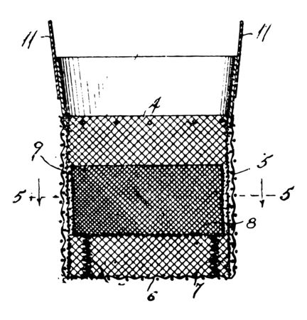 This illustration represents Feed Bag which referred to as a bucket bag vintage line drawing or engraving illustration.