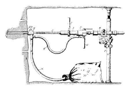 Dust Collector is device to control air pollution by collecting huge volumes of dust through blower vintage line drawing or engraving illustration. Foto de archivo - 132799306
