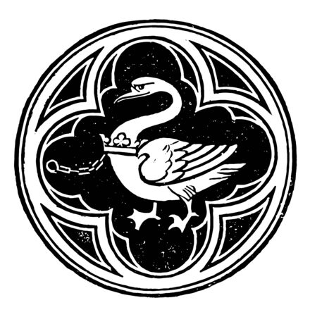 De Bohun Badge is the central spandrel of the Canopy mediaeval noble family legend of the Swan Knight vintage line drawing or engraving illustration. 向量圖像