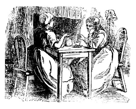 A scene from the story Anne Lisbeth this scene shows two females sitting on chairs with table in between them and discussing something and a cup kept on table vintage line drawing or engraving illustration