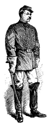 A Savannah Georgia sergeant of police vintage line drawing or engraving illustration