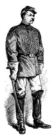 Ein Savannah Georgia Sergeant der Polizei Vintage Strichzeichnung oder Gravur Illustration