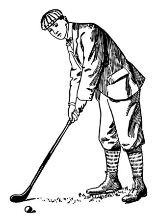In this picture it looks like a baseball bat a tennis racket all the instruments used in golf are hammers. A man is playing golf vintage line drawing or engraving illustration. Ilustrace