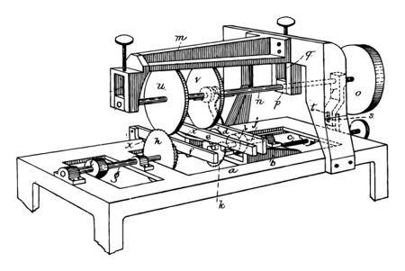 This illustration represents Machine for Sawing Grooving vintage line drawing or engraving illustration.