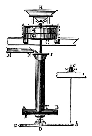 This illustration represents Barker Mill where mill is a building equipped with machinery for grinding grain into flour vintage line drawing or engraving illustration.