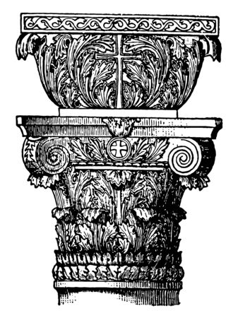 Byzantine Capital is leading forms round arch particular the dome circles column round vintage line drawing or engraving illustration.