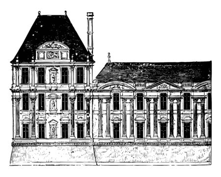 Flore Pavilion and part of the Gallery of the Louvre the Louvre Museum or Great Louvre the national museum of France most visited museum in the world a historic monument vintage line drawing or engraving illustration.
