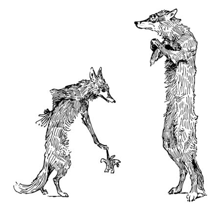 Reynard the Fox: Isegrims Challenge this scene shows the wolf holding glove and the fox standing in front of him vintage line drawing or engraving illustration