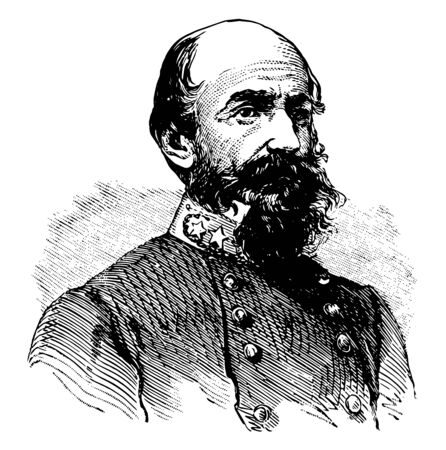 Richard Stoddert Ewell 1817 to 1872 he was a career United States army officer and a confederate general during the American civil war vintage line drawing or engraving illustration Vector Illustration