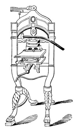This illustration represents Arming Press which is used for book binding vintage line drawing or engraving illustration. Illustration
