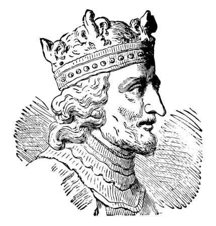 Stephen I of Hungary, he was the last grand prince of the Hungarians and the first King of Hungary, vintage line drawing or engraving illustration