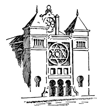 An ancient picture of a traditional Jewish synagogue which a house of prayer. It is a Jewish place of worship vintage line drawing or engraving illustration.