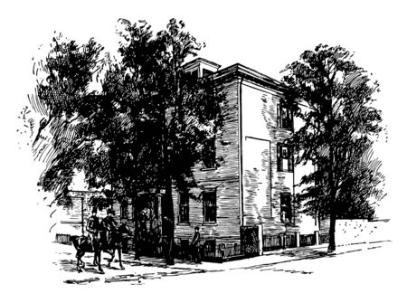 The image shows the home of Jefferson Davis in Richmond. The home is engulfed by trees. The house has picket fencing. Two Equestrians are passing from the front yard of the house vintage line drawing