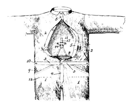 Union Overall Garment was used as a suit vintage line drawing or engraving illustration. 向量圖像