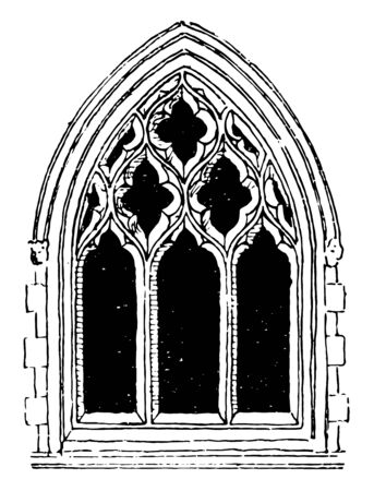 Large Gothic Window Tracery commonly used during the fourteenth century, stone had to be individually shaped, technical aspects of the windows, vintage line drawing or engraving illustration