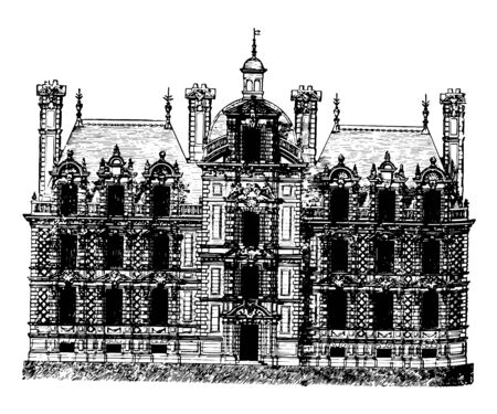 Château de Beaumesnil lowest level of administrative division wife Marie Dauvet Desmaret case of the windows the free to stone the forms of quoins vintage line drawing or engraving illustration.