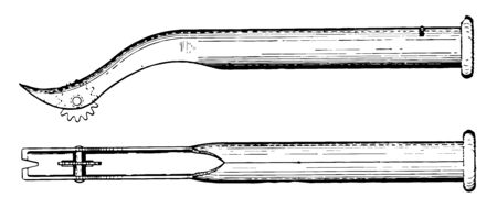 This illustration represents Tack Puller which used to pull tacks or other objects that puncture through tire walls vintage line drawing or engraving illustration.