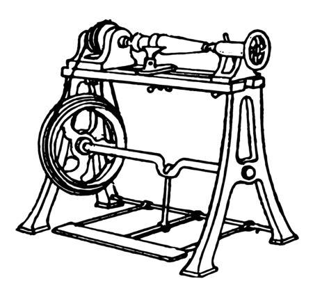 Esta ilustración representa cómo utilizar Torno para torneado de madera, dibujo de línea vintage o ilustración de grabado.