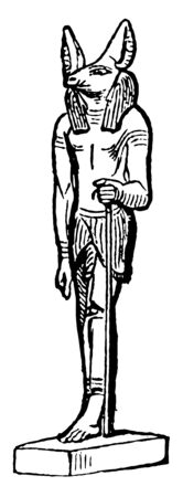 Anubus is An Egyptian deity it was frequently styled Hermes or Hermanubis combining the Egyptian vintage line drawing or engraving illustration.