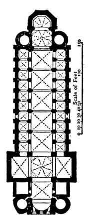 Plan of Cathedral at Worms AD 1000–1025 an example of Romanesque and Gothic architecture in Germany the three most important churches in which this was accomplished architecture open timber roofing vintage line drawing or engraving illustration.
