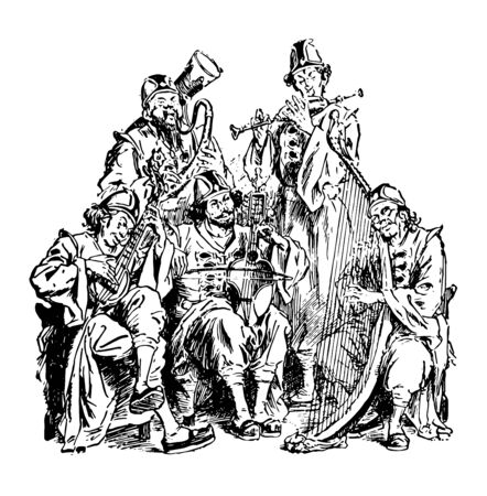 The giant musicians of Brobdingnag this scene shows musician band of five people performing by playing different types of musical instruments vintage line drawing or engraving illustration Иллюстрация