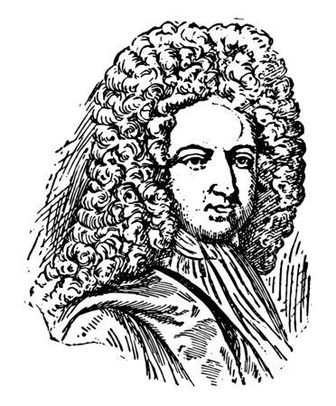 Face of man vintage line drawing or engraving illustration