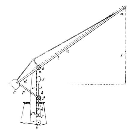 Naval Crane a lifting machine generally equipped also called a wire rope drum used both to lift and lower materials move them horizontally vintage line drawing or engraving illustration. 向量圖像