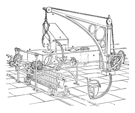 This illustration represents Furnace Apparatus for Minting where the metal is first melted in the crucible in flue vintage line drawing or engraving illustration. Ilustração