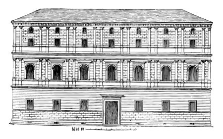 Giraud Palace at Rome Rome are the Cancelleria Palace the Church of San Lorenzo in Damaso contained Palazzo Castellesi Giraud Torlonia vintage line drawing or engraving illustration.