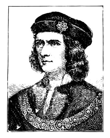 Richard III of England was King of England from 1483 until his death in 1485 vintage line drawing or engraving illustration.