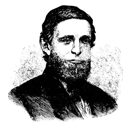 Schuyler Colfax 1823 to 1885 he was a journalist businessman and politician from Indiana speaker of the U.S. house of representatives and the vice president of the United States vintage line drawing or engraving illustration Ilustrace