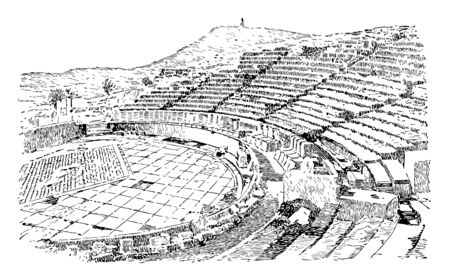 Theater of Dionysus One of the earliest open to air theaters Eleuthereus is a major theatre the foot of the Athenian Acropolis vintage line drawing or engraving illustration. Stock Vector - 132806654