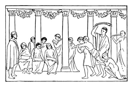 Roman School Scene of wall painting punishment Roman Empire Roman Republic Rome school vintage line drawing or engraving illustration. Illusztráció