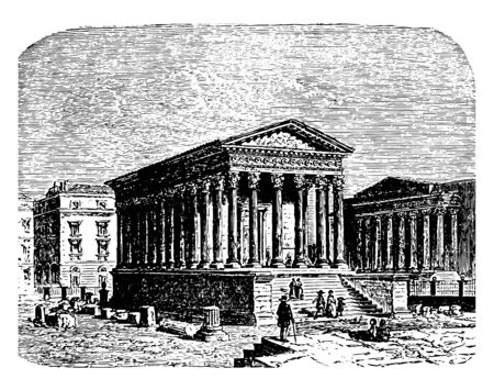 The Square House of Nîmes also known as Maison Carree an ancient Roman temple located in Nimes Roman statesman and general vintage line drawing or engraving illustration.