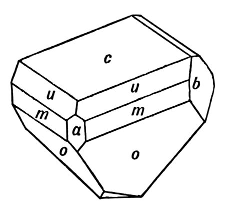 This diagram represents Hemihedral Crystal of Pyroxene, vintage line drawing or engraving illustration.