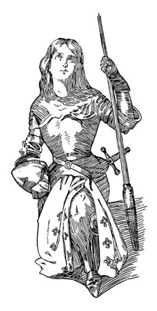 Joan of Arc she was famous as heroine of France for her role during the Lancastrian phase of the hundred years war vintage line drawing or engraving illustration