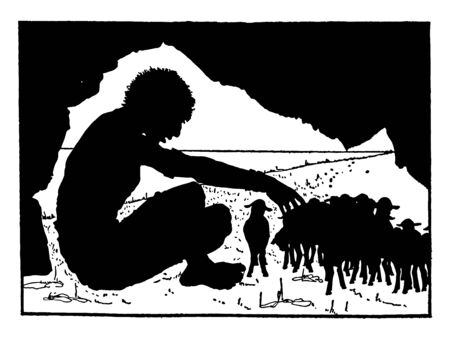 Giant Sitting in Cave with Sheep, this scene shows a giant man sitting in a cave and playing with a herd of sheep, vintage line drawing or engraving illustration