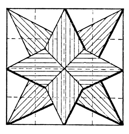 Constructing Star Using Pentagons is divided into a squares five sided shape where the sides are equal in length vintage line drawing or engraving illustration.