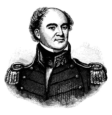Jesse Duncan Elliott 1782 to 1845 he was a United States naval officer and commander of American naval forces in Lake Erie famous for his controversial actions during the Battle of Lake Erie vintage line drawing or engraving illustration